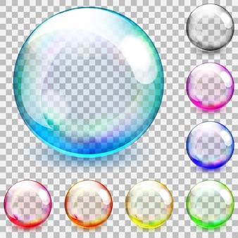 Набор разноцветных прозрачных стеклянных сфер