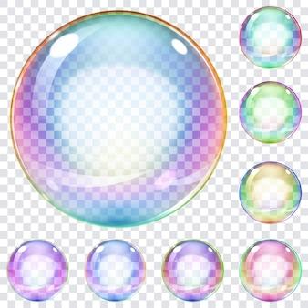 Набор разноцветных прозрачных мыльных пузырей на клетчатом фоне