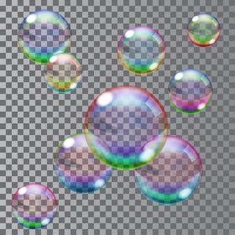 Набор разноцветных прозрачных мыльных пузырей. прозрачность только в векторном файле