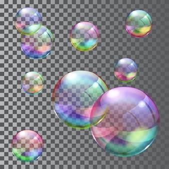 여러 가지 빛깔의 투명 비누 거품의 집합입니다. 벡터 파일에서만 투명도
