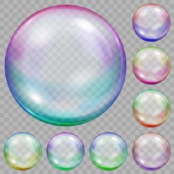 Набор разноцветных прозрачных мыльных пузырей с бликами на прозрачном фоне
