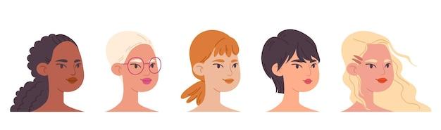 다문화 다양한 여성 얼굴의 집합입니다.