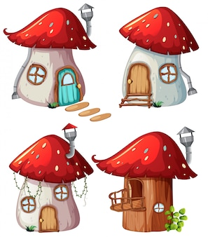 Set of mushroom house