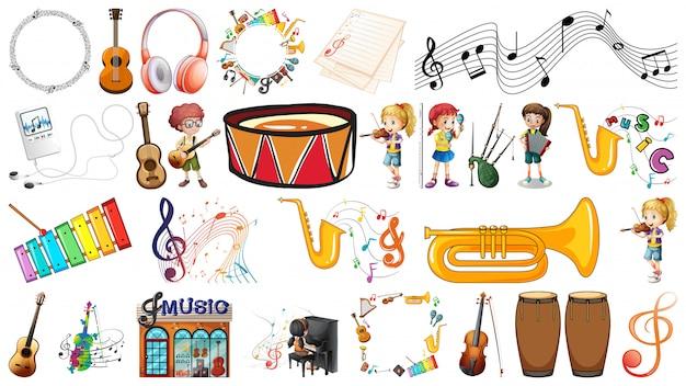 Набор музыкальных инструментов Бесплатные векторы