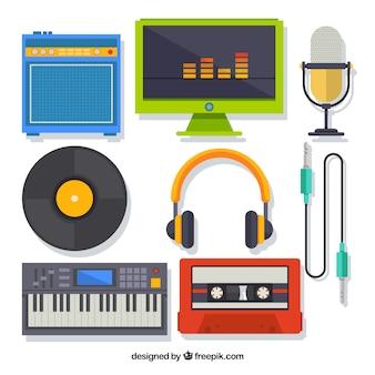 音楽スタジオ機器のセット