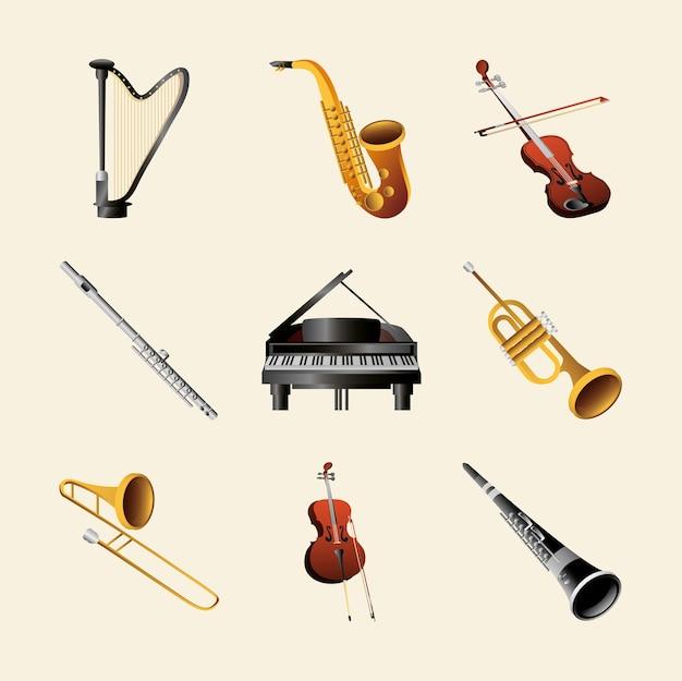 Набор музыкальных инструментов включает фортепьяно, арфу, флейту, трубу и другие подробные иллюстрации