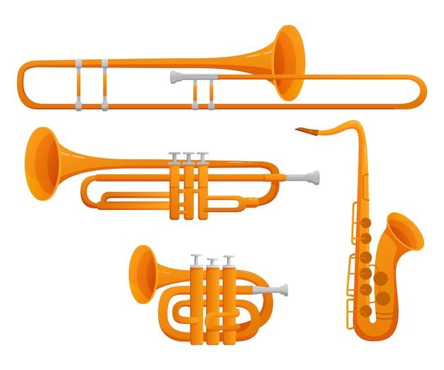 Набор музыкальных инструментов тромбон, труба, саксофон, гобой. иллюстрация. на белом фоне.