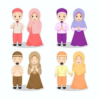 カラフルなテーマのイスラム教徒のカップルのキャラクターのセット