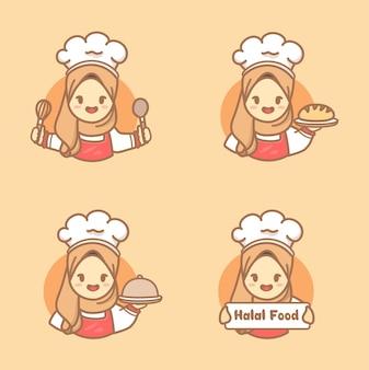 케이크, 쿠키, 주방 도구를 들고 히잡을 쓴 귀여운 이슬람 여성 요리사 세트. 할랄 수제 로고 템플릿 벡터