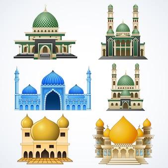 Набор мусульманской мечети, изолированных на белом фоне