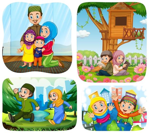 さまざまなシーンでのイスラム教徒の人々の漫画のキャラクターのセット