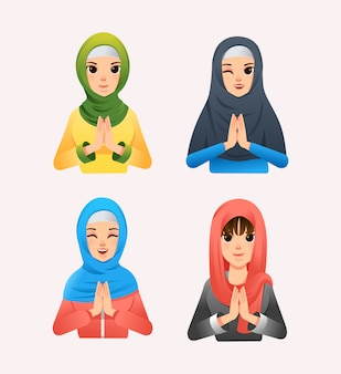 Набор мусульманских женщин в хиджабе с другим стилем и другой иллюстрацией выражения лица