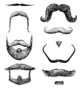 口ひげと面白いひげの男性、ヒップスター、レトロな床屋や透明な背景に美容院のセット。