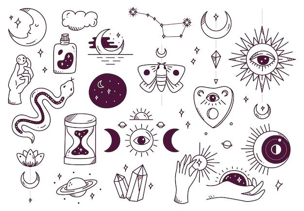 Набор каракули мистической астрономии
