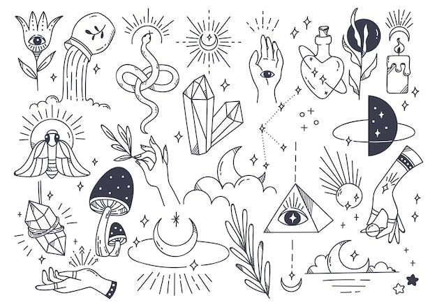 손으로 그린 낙서 스타일 일러스트에서 신비한 천문학의 집합