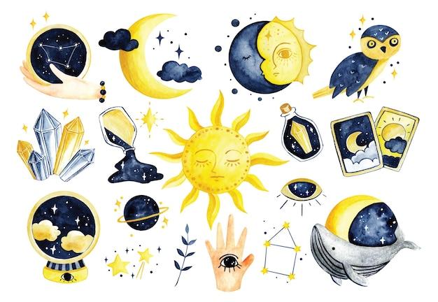 Набор мистической астрономии в рисованной акварельной иллюстрации каракули