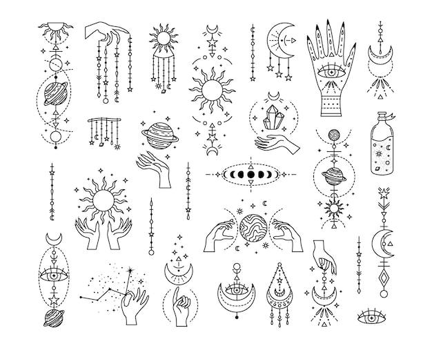 신비로운 점성술 세트. 마법의 상징. 라인 아트.