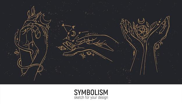 神秘的な構成のセット。手、女性、スピリチュアリティ、魔法、スピリチュアリティ。