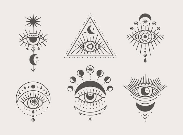 최신 유행하는 최소 선형 스타일의 신비로운 눈, 태양 및 달 아이콘 세트. 벡터 아이소메트릭 그림