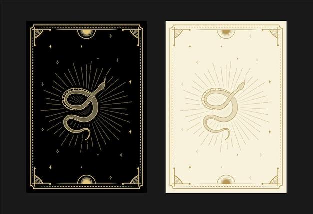 神秘的なタロットカードのセット錬金術落書きシンボル魔法の頭蓋骨の花の光線の彫刻の結晶