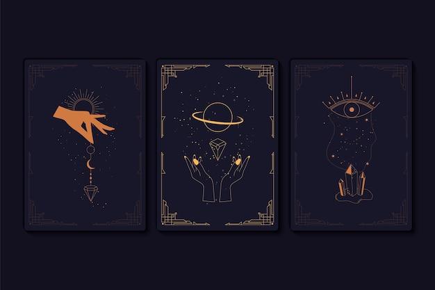 神秘的なタロットカードのセット。秘教、オカルト、錬金術、魔女のシンボルの要素。干支。秘教のシンボルが描かれたカード。手、星、月、クリスタルのシルエット。ベクトルイラスト