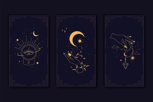 Набор мистических карт таро элементы эзотерических оккультных алхимических и колдовских символов
