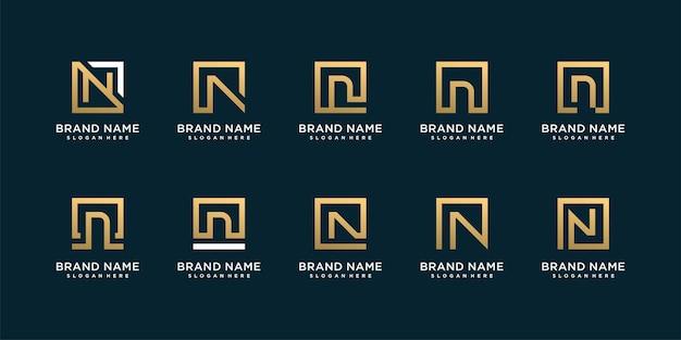 Набор логотипов с буквой n и золотой концепцией premium векторы