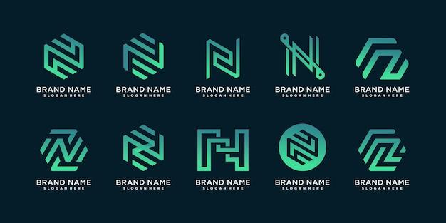 Набор из коллекции логотипов n с концепцией геометрии и креативным стилем градиента premium векторы