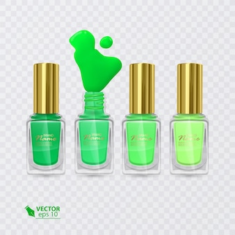 緑から薄緑までの色のマニキュアのセット、透明な背景の上のマニキュア、イラスト