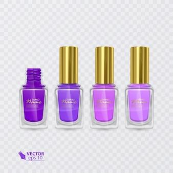 紫から薄紫までの色のマニキュアのセット、透明な背景にマニキュア、イラスト