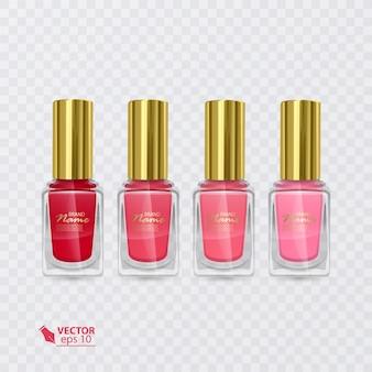 赤から淡いピンクまでの色のマニキュアのセット、透明な背景にマニキュア、イラスト
