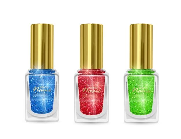 윤기 나는 질감으로 매니큐어 세트, 반짝 이는 질감, 일러스트와 함께 빨강, 파랑 및 녹색 색상의 매니큐어