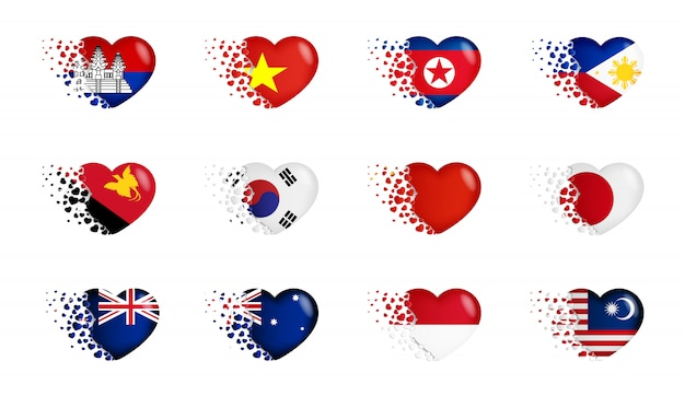 Набор национальных флагов с маленькими сердечками