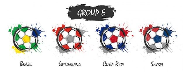 国家のフットボールチームのグループeのセットステンドグラスのスプラッシュを持つ現実的な水彩画の塗料
