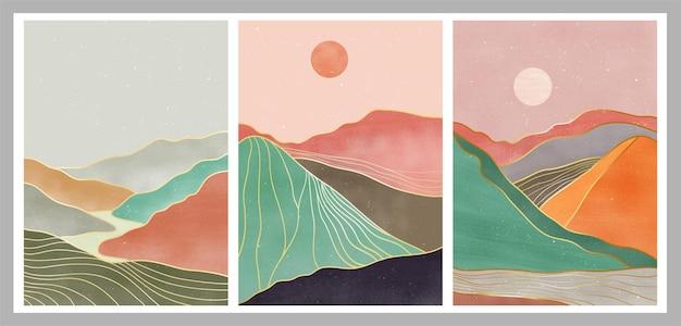 Набор природных абстрактных гор. современный минималистский художественный принт середины века. абстрактные современные эстетические фоны пейзаж.