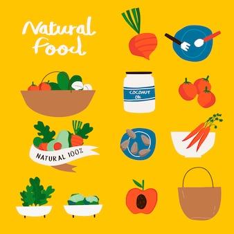 Set of natural and organic food badges vector