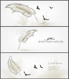 포스터 디자인을위한 자연 배너의 집합입니다.