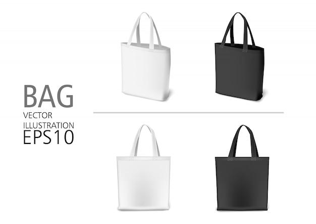ナチュラルキャンバス素材のショッピングバッグの白黒カラーのセット。エコスタイルのリアルなバッグテンプレート