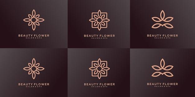 自然化粧品のロゴデザインテンプレートのセット