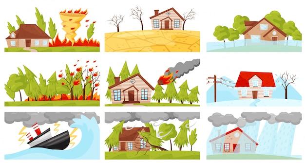 Набор иллюстраций стихийных бедствий. огненный вихрь, молния, лесной пожар, падение метеорита