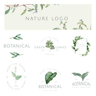 자연과 식물 로고 벡터의 집합