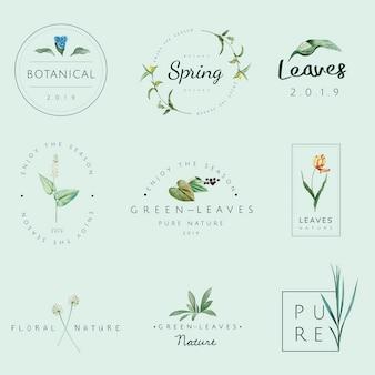 Набор векторов логотипов природы и растений