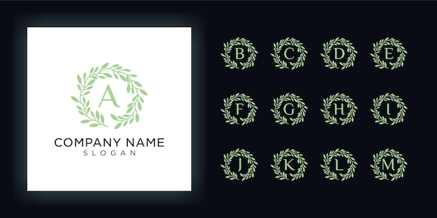 Набор красоты природы логотипа дизайн листа логотип линии Premium векторы
