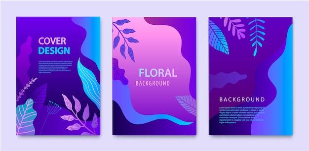 ネイチャーカバー、パンフレット、美容、スパ、ウェルネス、天然物、化粧品、ファッション、ヘルスケアの年次報告書デザインテンプレートのセット。紫色の植物、波のダイナミックな概念