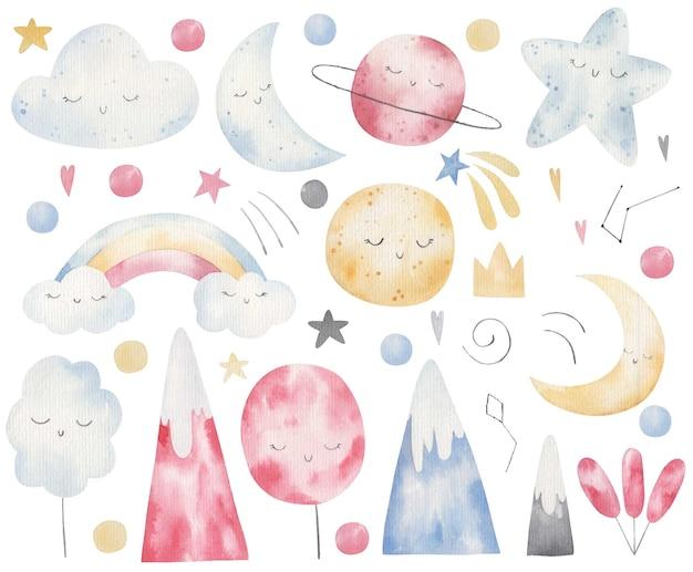 자연 요소, 산, 나무, 구름, 수채화 어린이 그림의 집합