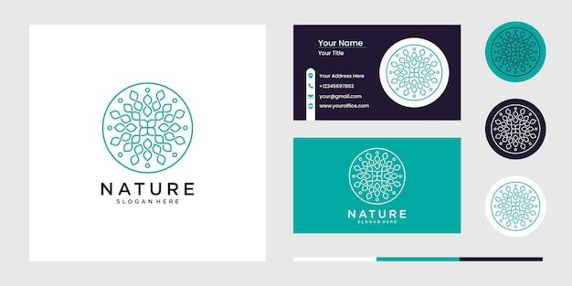 自然の花のロゴのデザインのセット