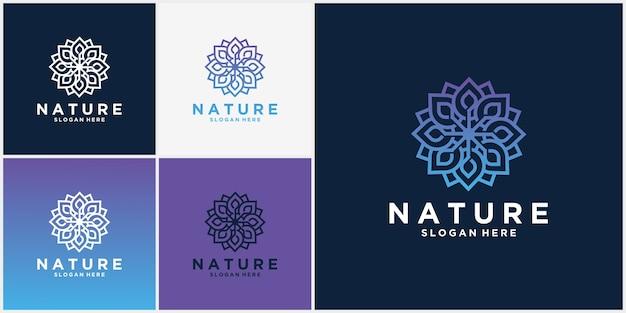 Набор дизайн логотипа цветок природы