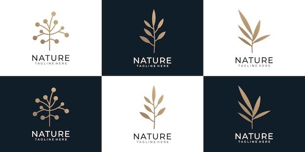 自然の金のシンボルの花の葉の創造的な植物のスパ装飾禅バンドルのセット
