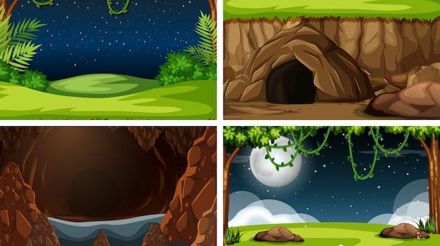 自然風景の背景のセット