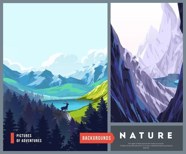 Набор иллюстраций ландшафта природы с силуэтами гор и деревьев. векторные иллюстрации